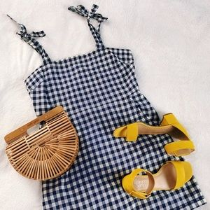 Navy gingham mini dress with tie straps